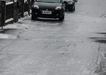 Eis auf einer Straße