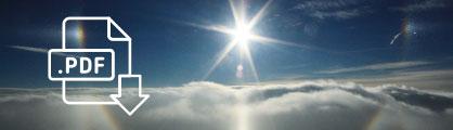 PDF-Icon vor einer Schneelandschaft unter Sonnenschein